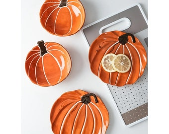 Pumpkin Shaped Plate, Pumpkin Bowl, Bowl And Plate Set, Pumpkin Dish, Halloween Bowl, Halloween Plates, Ceramic Plates, Ceramic Bowl, Set