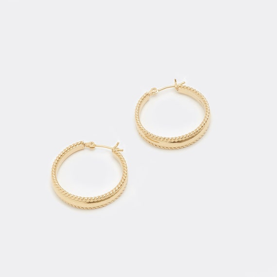 Spiral Edge Hoops in Gold