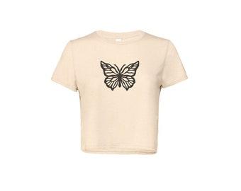 Butterfly Women's Flowy Cropped Tee