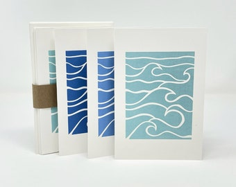 Waves Printed Notecards, Set of 6, Natural Cardstock and Recycled Envelopes, Assorted Colors