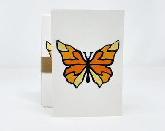 """Butterfly Crafted Notecards, Set of 6, 4""""x6"""" Blank Notecards and Recycled Envelopes"""