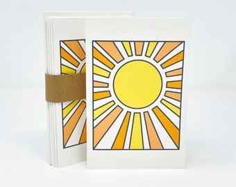 """Sun Notecards, Printed, Set of 6, 4"""" x 6"""" Blank Notecards and Recycled Envelopes, Sunfire"""