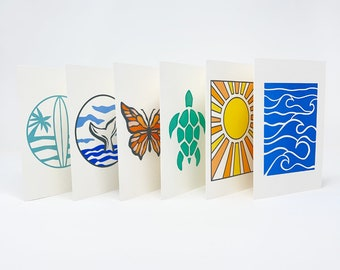 """Coastal Collection, Blank 4""""x6"""" Notecards, Set of 6, White Cardstock with Recycled Envelopes"""