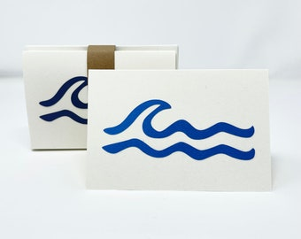 Wave Notecards, Set of 6, Blank Cards– Wave Ripples, Assorted Colors