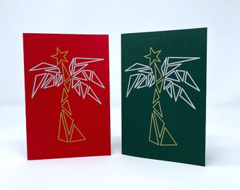 Holiday Palm Tree with Star, Set of 10, Red and Green Cardstock with white liner,Recycled White Envelopes