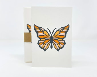 Butterfly Printed Notecards, Set of 6, White Blank Notecards and Recycled Envelopes
