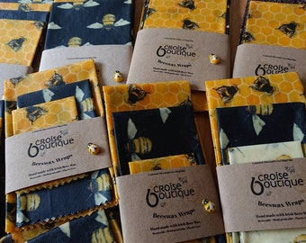 Set of 3 Reusable Beeswax Food Wraps, Food Cover, Eco Friendly Gift, Sustainable Zero Waste, Stocking Filler, Plastic Free, Sandwich Wrap