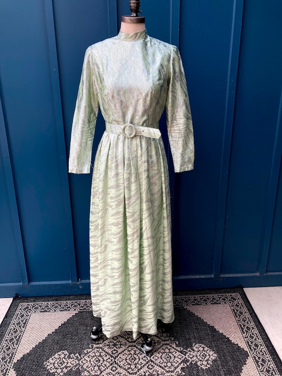 1970's Green and Silver Lame Dress