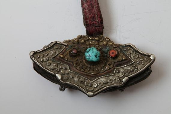Antique Tibetan Purse, Leather Belt Pouch, Old Coi