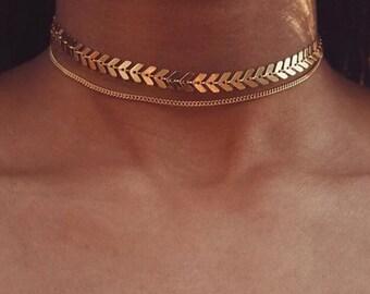 Silver Plated Fishbone Choker  Chevron Choker  Dainty Jewelry  Silver Tattoo Choker