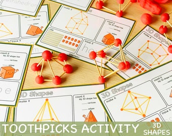 Toothpicks and Play Doh 3D Shapes Activity Game for Toddler Play Dough Party Activities Printable Learning Resources for Kids