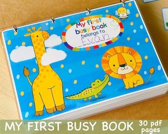 Personalized Toddler Busy Book Printable Preschool Activities Homeschool Montessori Materials Kids Learning Binder Activity Quiet Book
