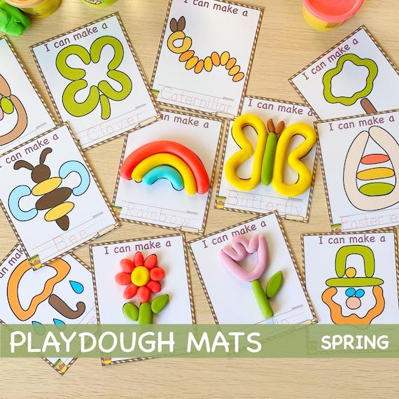 Printable Play Dough Mats Montessori Spring Printables Play
