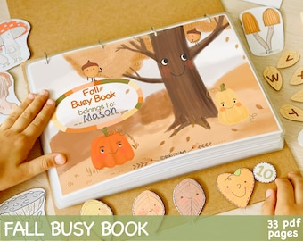 Fall Busy Book Printable Quiet Book Homeschool Learning Materials Autumn Toddler Busy Book Preschool Kids Activity Baby Learning Binder