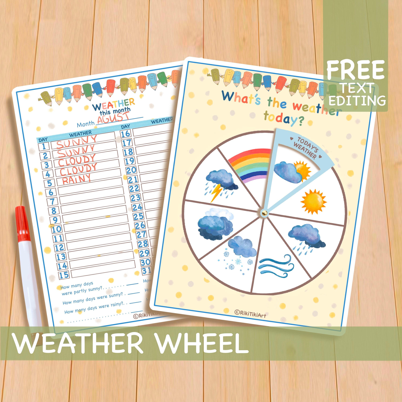 Weather Wheel Printable Toddler Activities Homeschool Etsy