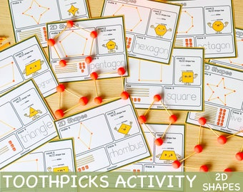 Toothpicks and Play Dough 2D Shapes Visual Cards Toddler Activity Preschool Printables Homeschool Learning Montessori Printable Resources