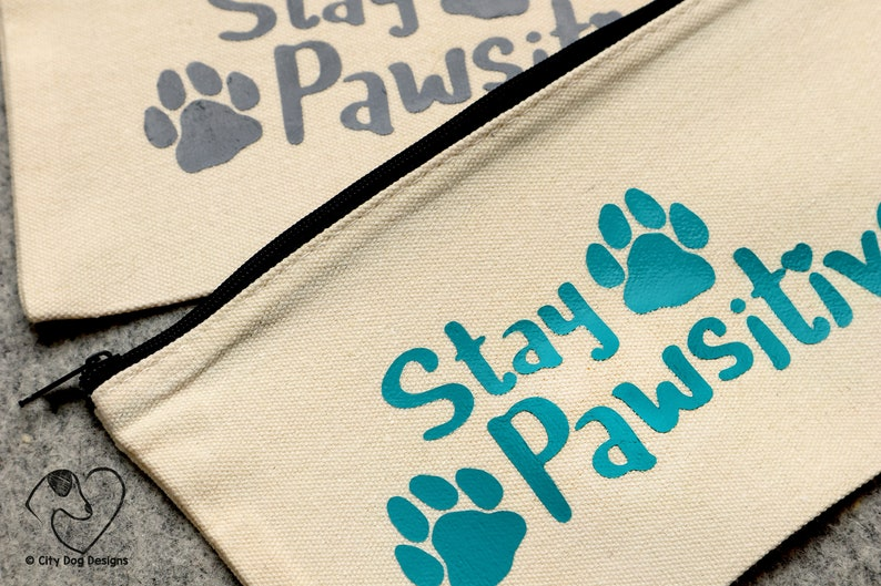 Dog Pawsitive |Canvas Zipper Bags Paw StayPositive Zipper Bag Canvas Pencil Pouch Canvas Makeup Bags