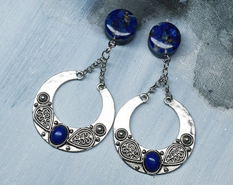 Pair of ear dangle plug tunnel with lapis lazuli stone and pendant charm boho wicca tibetian silver wedding Made to order