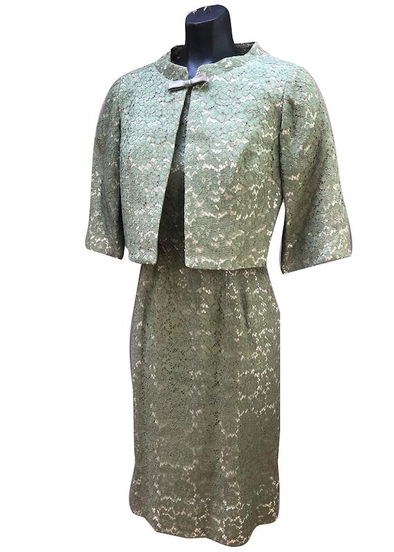 1950s Lace Wiggle Dress Sage Green