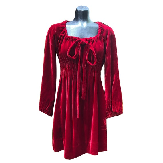 1960s Red Velvet Juliet Mini Dress
