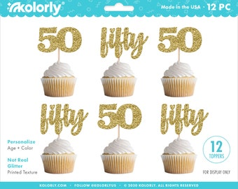 No-Mess Real Gold Glitter Dessert Cupcake Toppers Set of 24 55th Birthday Party Clear Treat Picks Gold Glitter 55