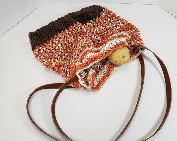Featured listing image: Knitted Cotton Grocery Bag w/vegan leather strap