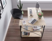 Small L-Shaped Corner Desk with Shelves 47 Inch Writing Desk Table, Secretary Desk, Mid Century Desk, Gaming Desk, Office Desk