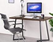 Computer Gaming Desk Wood and Metal Writing Desk Simple Study Table Rustic, Secretary Desk, Mid Century Desk, Gaming Desk, Office Desk