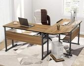 Modern L-Shaped Desk with Bookshelf, 67 inch Double Corner Computer Office Desk, Secretary Desk, Mid Century Desk, Gaming Desk, Office Desk