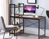 47.5 inches Computer Desk, Study Writing Table with 4 Tier Storage Bookshelves, Secretary Desk, Mid Century Desk, Gaming Desk, Office Desk