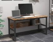 Computer Desk 47 quot with Bookshelf,Office Desk, Writing Desk, Wood and Metal Frame, Secretary Desk, Mid Century Desk, Gaming Desk, Office Desk