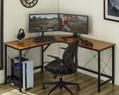 L-Shaped Desk 59 quot Computer Corner Desk, Gaming Desk, Office Writing Workstation, Secretary Desk, Mid Century Desk, Gaming Desk, Office Desk