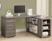 Hollow-Core Left or Right Facing Corner Desk, Dark Taupe , Secretary Desk, Mid Century Desk, Gaming Desk, Office Desk