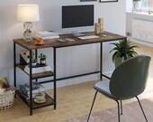 Computer Desk with 2 Shelves, Study Writing Table, Large Office Desk Metal Legs, Secretary Desk, Mid Century Desk, Gaming Desk, Office Desk