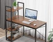 Computer Desk with 4 Tire Shelves - 47.6 inch Writing Study Table Bookshelves, Secretary Desk, Mid Century Desk, Gaming Desk, Office Desk