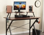 Gaming Desk 47 inc Adjustable Display Speaker Stand and Headphone Gamepad Holder, Secretary Desk, Mid Century Desk, Gaming Desk, Office Desk