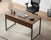 47 Computer Desk Home Office Writing Laptop Table for Study Studio Work, Brown , Secretary Desk, Mid Century Desk, Gaming Desk, Office Desk