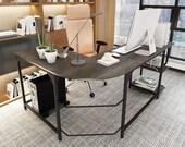 L Shaped Desk with Shelves Round Corner Computer Desk Gaming Table, Secretary Desk, Mid Century Desk, Gaming Desk, Office Desk
