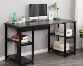Home Office Desk 55 inches Computer Desk, Morden Style Desk with Shelves Desk, Secretary Desk, Mid Century Desk, Gaming Desk, Office Desk