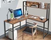 55 Inches L-Shaped Desk, Space Saving Corner Computer Desk, Study Writing Table, Secretary Desk, Mid Century Desk, Gaming Desk, Office Desk