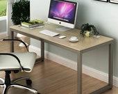Home Office 55-Inch Large Computer Desk, Silver Frame W Grey Top, Secretary Desk, Mid Century Desk, Gaming Desk, Office Desk