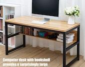 55 quot Computer Desk with Bookshelf Metal Desk Grommet Hole Cable Cover (Natural), Secretary Desk, Mid Century Desk, Gaming Desk, Office Desk