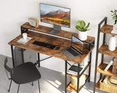 Computer Desk 55 quot ,Office Desk with Printer Monitor Shelf Storage Shelf CPU Stand, Secretary Desk, Mid Century Desk, Gaming Desk, Office Desk