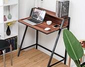 Small Gaming Desk, 2 Tier Computer Desk, Wood Sturdy Frame Compact Writing Table, Secretary Desk, Mid Century Desk, Gaming Desk, Office Desk