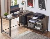 Rustic Industrial L Shaped Desk, 59 Inch Wood and Metal Study Corner Desk, Secretary Desk, Mid Century Desk, Gaming Desk, Office Desk