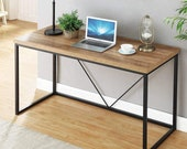 Rustic Industrial Computer Desk,Wood and Metal Writing Desk, Vintage PC Table, Secretary Desk, Mid Century Desk, Gaming Desk, Office Desk