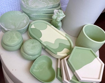 Sage Homeware Collection - Trinket Trays, Ring boxes, Planter/Cup, Decor