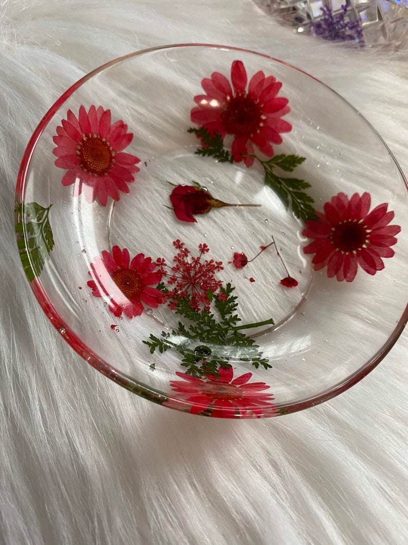 Pressed Flower Trinket Bowl Flower Bowl Dried Flower Decor, Real Flowers In Resin Trinket Dish