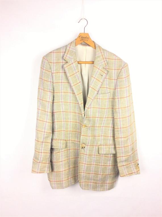 Harry Rosen vintage beige woolen checked blazer 80
