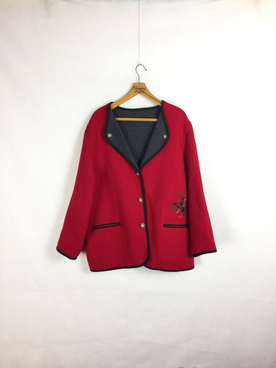 vintage lovely  red  woolen women's coat jacket  8